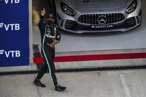 Lewis Hamilton, Mercedes-AMG F1, celebrates after taking pole
