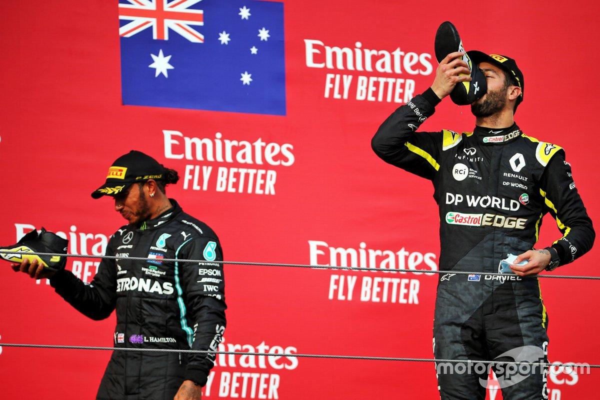 Podio: tercer lugar Daniel Ricciardo, Renault F1 Team, ganador de la carrera Lewis Hamilton, Mercedes F1