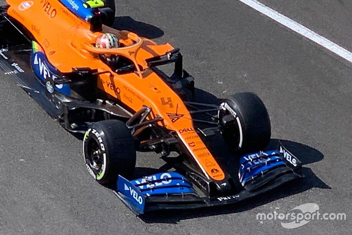 Detalle del alerón delantero del McLaren MCL35