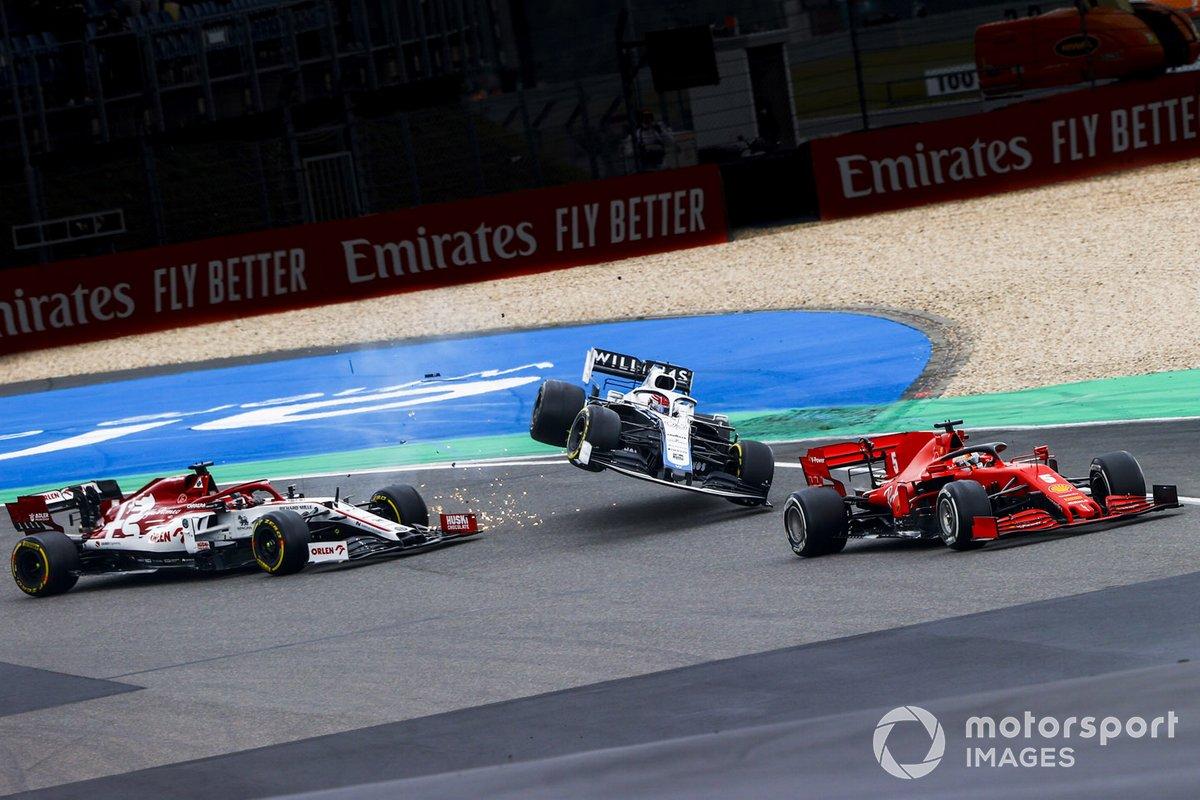 Sebastian Vettel, Ferrari SF1000 e l'incidente di Kimi Raikkonen, Alfa Romeo Racing C39 con George Russell, Williams FW43
