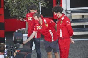 Charles Leclerc, Ferrari, Sebastian Vettel, Ferrari and Mattia Binotto, Team Principal Ferrari with the Pirelli Pole Postion Award for Ferrari 1000th Race