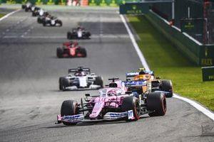 Sergio Perez, Racing Point RP20, Lando Norris, McLaren MCL35, and Daniil Kvyat, AlphaTauri AT01