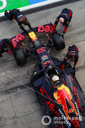 Max Verstappen, Red Bull Racing RB16, is returned to the garage