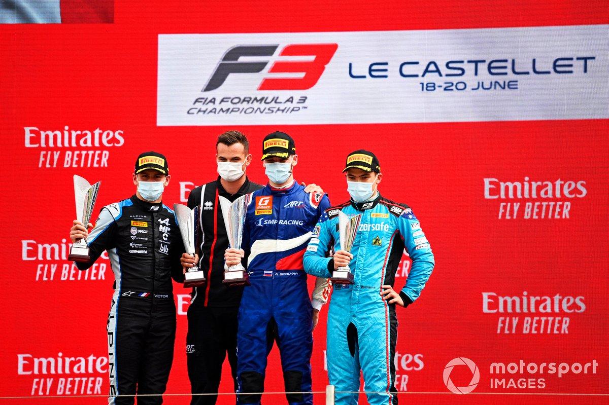 Victor Martins, MP Motorsport, Alexander Smolyar, ART Grand Prix y Calan Williams, Jenzer Motorsport