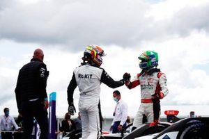 Edoardo Mortara, Venturi Racing, third position, congratulates Lucas Di Grassi, Audi Sport ABT Schaeffler, first position, in Parc Ferme