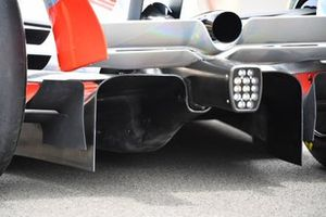 The 2022 Formula 1 car launch event on the Silverstone grid. Diffuser detail