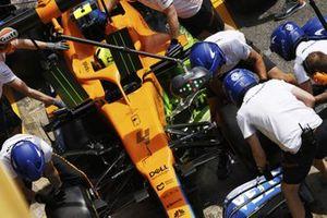 Lando Norris, McLaren MCL35M, in the pits during practice