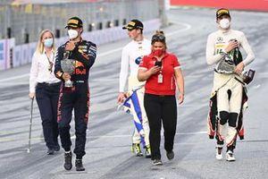 Le 3ᵉ Dennis Hauger, Prema Racing, le vainqueur David Schumacher, Trident, le 2ᵉ Frederik Vesti, ART Grand Prix