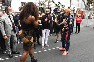 Max Verstappen, Red Bull Racing, 1st position, and Tennis star Serena Williams are interviewed by David Coulthard after the race