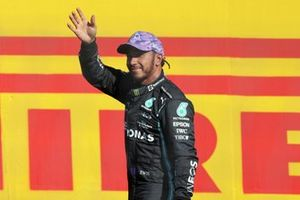 Lewis Hamilton, Mercedes, waves to fans