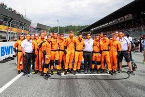 The McLaren team on the grid
