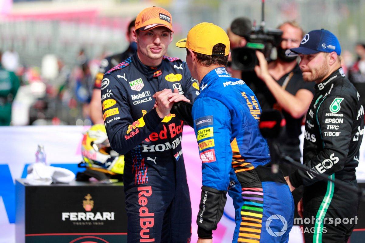 Lando Norris, McLaren , 3rd position, congratulates Max Verstappen, Red Bull Racing, 1st position, in Parc Ferme