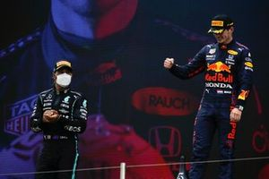 Lewis Hamilton, Mercedes, 2nd position, and Max Verstappen, Red Bull Racing, 1st position, on the podium