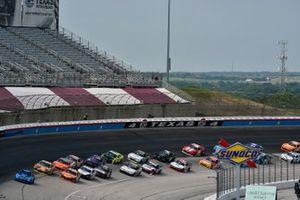 Daniel Hemric, Joe Gibbs Racing, Toyota Supra Poppy Bank and Kyle Busch, Joe Gibbs Racing, Toyota Supra Twix