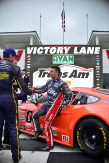 Ty Majeski celebrates winning the TA2 race at Road America