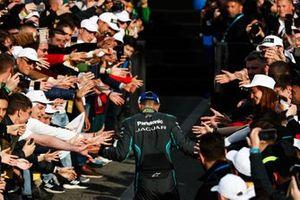 Mitch Evans, Panasonic Jaguar Racing, celebrates on his way to the podium