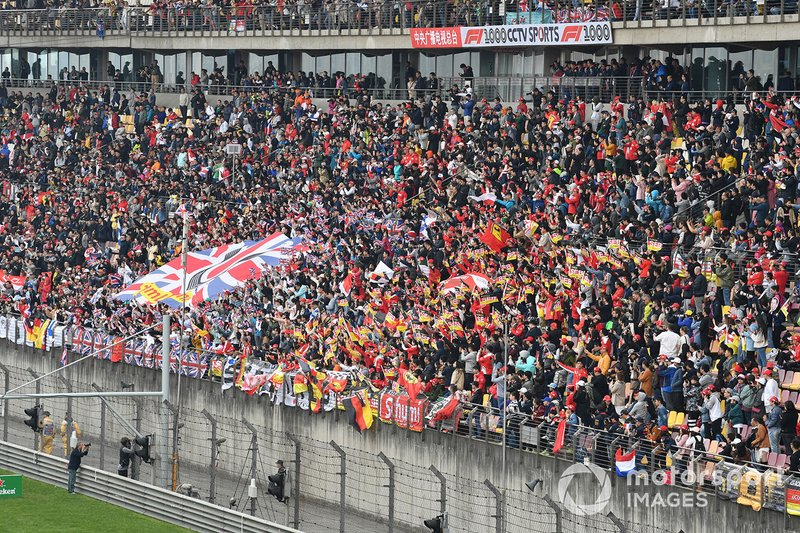 Crowd support for Lewis Hamilton, Mercedes AMG F1, and Sebastian Vettel, Ferrari