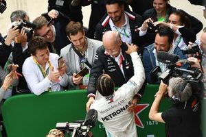 Lewis Hamilton, Mercedes AMG F1, 1st position, celebrates with Dr Dieter Zetsche, CEO, Mercedes Benz, in Parc Ferme