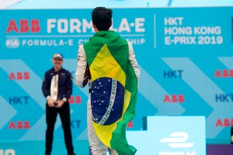 Third place Lucas Di Grassi, Audi Sport ABT Schaeffler, approaches the podium
