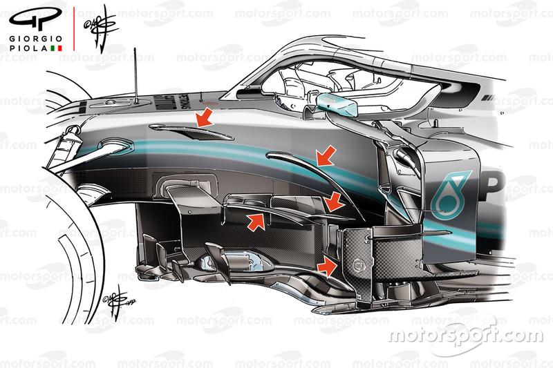 El bargeboard del Mercedes AMG F1 W10