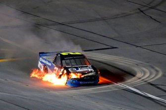 Sheldon Creed, GMS Racing, Chevrolet Silverado United Rentals/A.M.Ortega crash