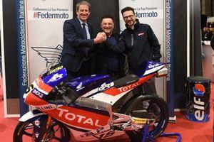 Giovanni Copioli, Presidente FMI; Fausto Gresini, Team Manager Gresini Racing; Piergiorgio Festino, Direttore Marketing Total Italia