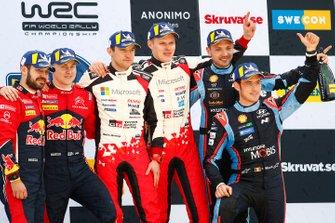 Winners Ott Tänak, Martin Järveoja, Toyota Gazoo Racing WRT, second place Esapekka Lappi, Janne Ferm, Citroën World Rally Team, third place Thierry Neuville, Nicolas Gilsoul, Hyundai Motorsport