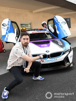 Alex Fernandes with the BMW i8 Safety car