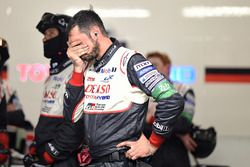 A Toyota Gazoo Racing team member reacts to the #7 retirement