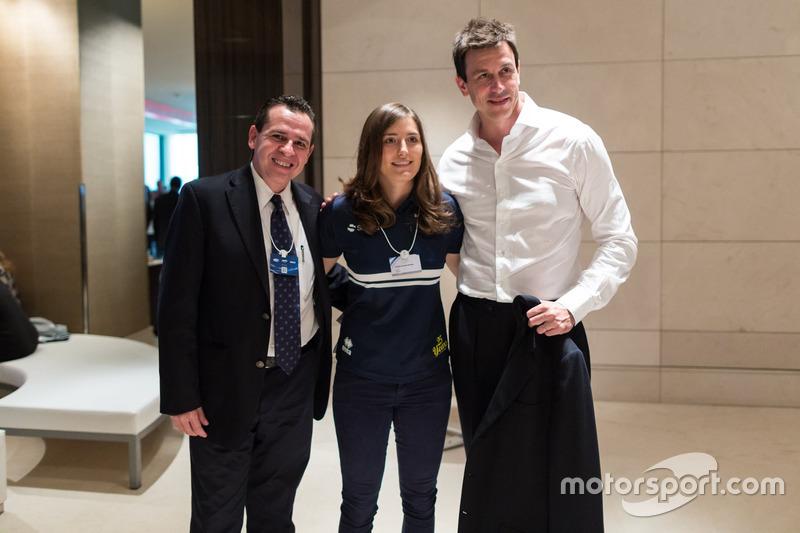 Tatiana Calderón, Toto Wolff, Mercedes AMG F1 Director de Motorsport