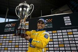Juan Pablo Montoya, celebrates being crowned the Champion of Champions on the podium