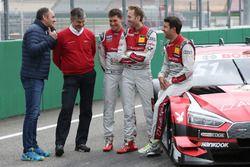 Gerhard Berger, ITR Chairman, Dieter Gass, Head of DTM Audi Sport, Loic Duval, Audi Sport Team Phoenix, Audi RS 5 DTM, René Rast, Audi Sport Team Rosberg, Audi RS 5 DTM, René Rast, Audi Sport Team Rosberg, Audi RS 5 DTM
