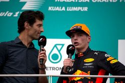 Mark Webber, race winner Max Verstappen, Red Bull Racing celebrate on the podium