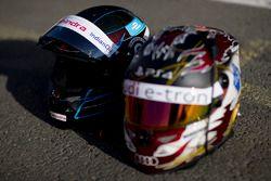 Cascos de Nick Heifeld, Mahindra Racing, Daniel Abt, Audi Sport ABT Schaeffler