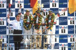 Podium: winners Tom Kristensen, Stefan Johansson, Michele Alboreto, Joest Racing TWR Porsche with Re