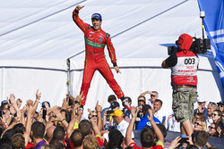 Lucas di Grassi, ABT Schaeffler Audi Sport, jumps on the podium
