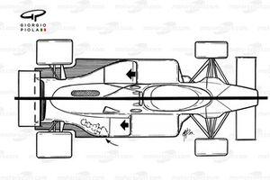 McLaren MP4-1E 1983 comparison with MP4-1D (top)