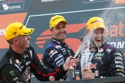 Podium: Race winner Jamie Whincup, Triple Eight Race Engineering Holden, second place Garth Tander,
