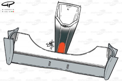 Vue de dessous de l'aileron avant de la McLaren MP4-14