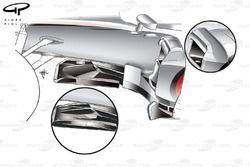 McLaren MP4-27 splitter and sidepod leading edge changes