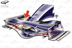 Toro Rosso STR3 front wing, note chord length changes (dotted lines)