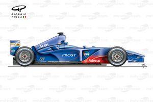 Prost AP04 2001, vista laterale