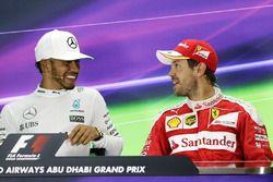 Yarış sonrası basın toplantısı: 1. Lewis Hamilton, Mercedes AMG F1, 3. Sebastian Vettel, Ferrari