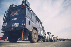 The Red Bull Content Pool media vehicles ready for the long journey to Buenos Aires