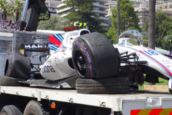 The crashed car of Lance Stroll, Williams FW40