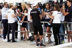 Lewis Hamilton, Mercedes AMG F1, Nico Rosberg, Mercedes AMG F1 with the media