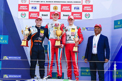 Podium: race winner Ralf Aron, second place Joey Mawson, third place Mick Schumacher