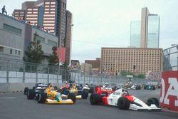 Gerhard Berger, McLaren MP4/6 Honda, Nelson Piquet y Roberto Moreno, Benetton B190B Ford