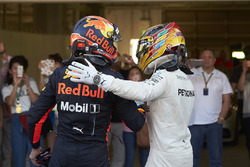 Max Verstappen, Red Bull, second place, congratulates Race winner Lewis Hamilton, Mercedes AMG F1, in Parc Ferme