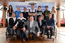 Fabio Quartararo, Johann Zarco, Loris Baz, Jules Danilo, Jonas Folger, Stéphane Paulus, Handi Free Riders president, Emiliano Malagoli, Di. Di. Diversamente Disabili president, Jacques Bolle, French federation president, Claude Michy, promoter, Kevin Simonato, vice-president Handi Free Riders